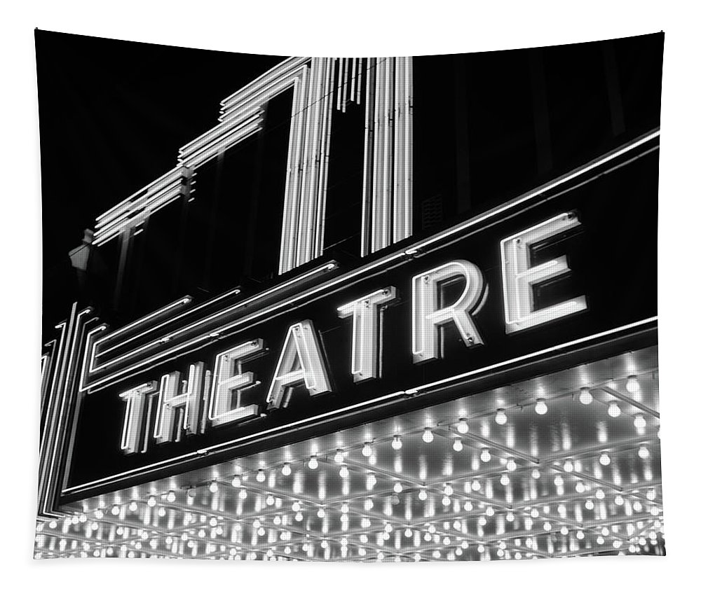 Photography Tapestry featuring the photograph 1930s 1940s Theater Marquee Theatre by Vintage Images