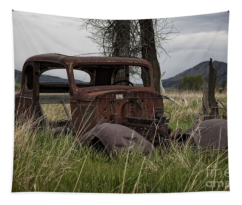 Old Rusty Car Tapestry featuring the photograph 1930s Chevy Coupe-autos-image by Wildlife Fine Art