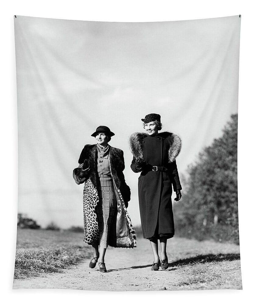 Photography Tapestry featuring the photograph 1930s Two Women Walking On Gravel Path by Vintage Images