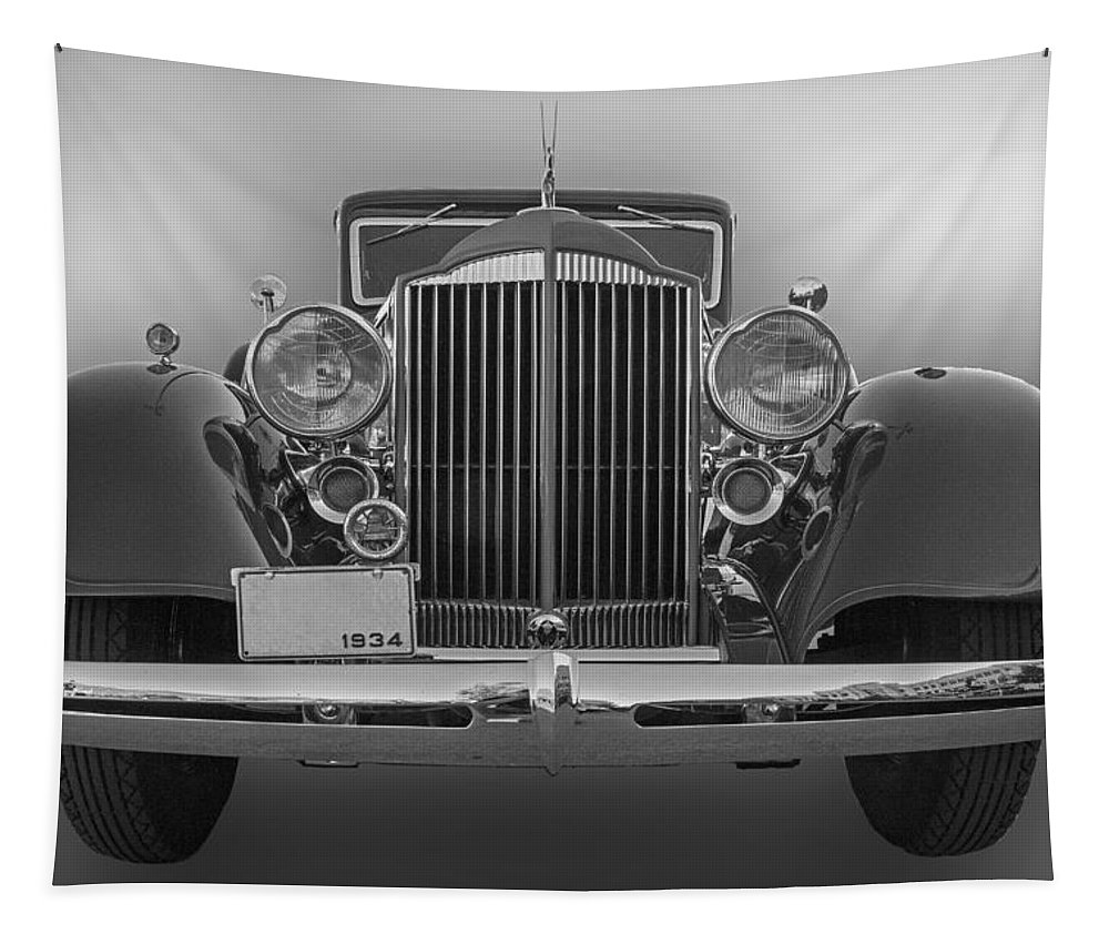 1934 Tapestry featuring the photograph 1934 Packard Black And White by Nick Gray