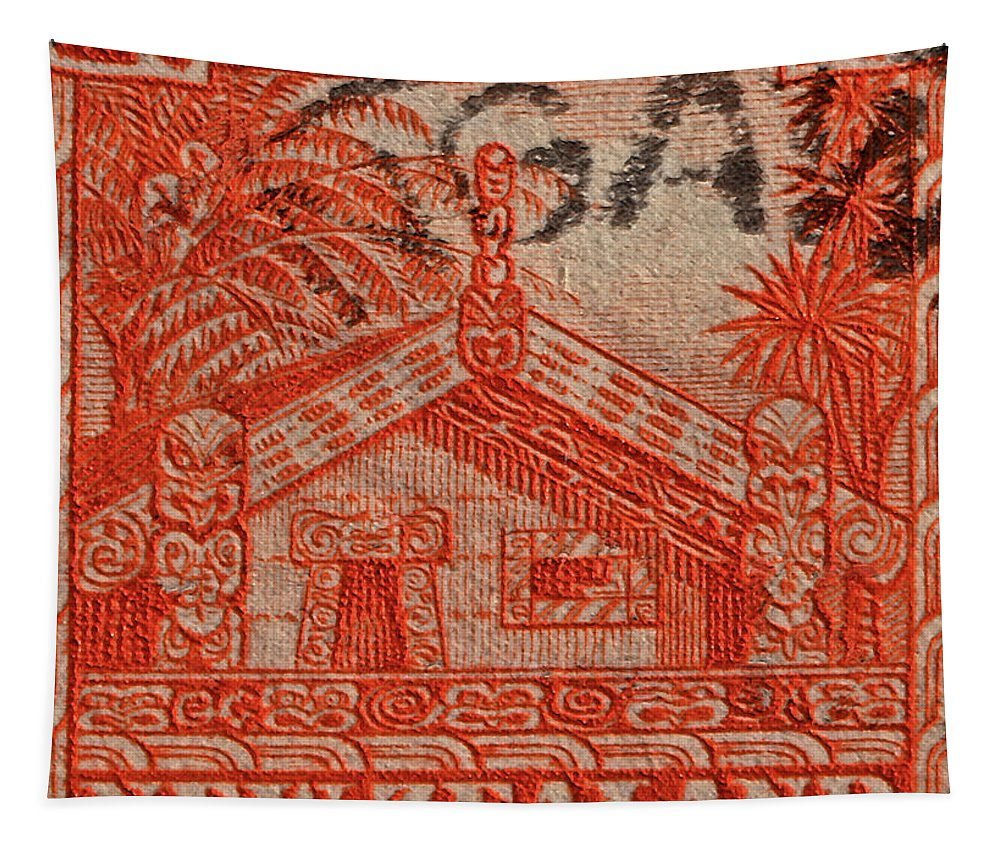 1935 Tapestry featuring the photograph 1935 Carved Maori House New Zealand Stamp by Bill Owen