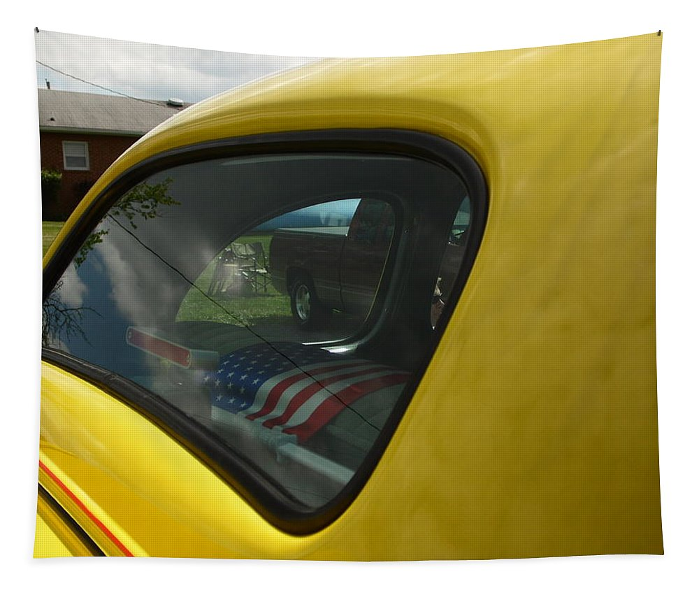 Cars Tapestry featuring the photograph Car Window Reflection by Karl Rose