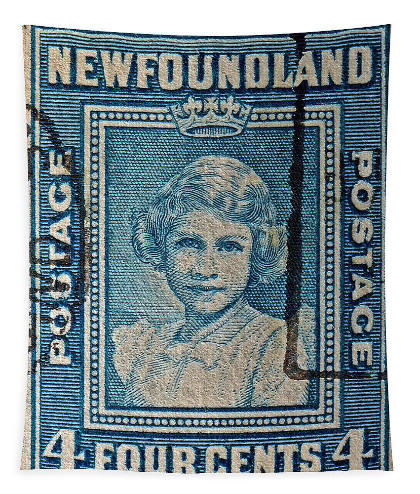1938 Tapestry featuring the photograph 1938 Queen Elizabeth II Newfoundland Stamp by Bill Owen