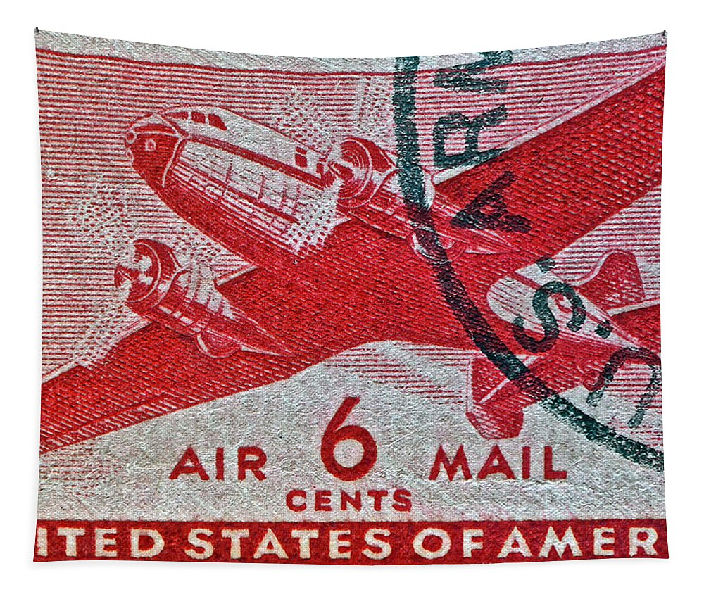 1941 Tapestry featuring the photograph 1941 - 1944 Six Cents Air Mail Stamp - U. S. Army Cancelled by Bill Owen