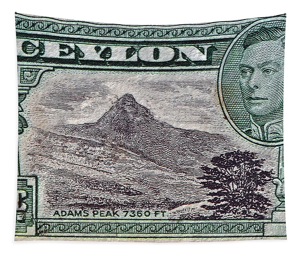 1946 Ceylon Tapestry featuring the photograph 1946 Ceylon - Sri Lanka - Stamp by Bill Owen