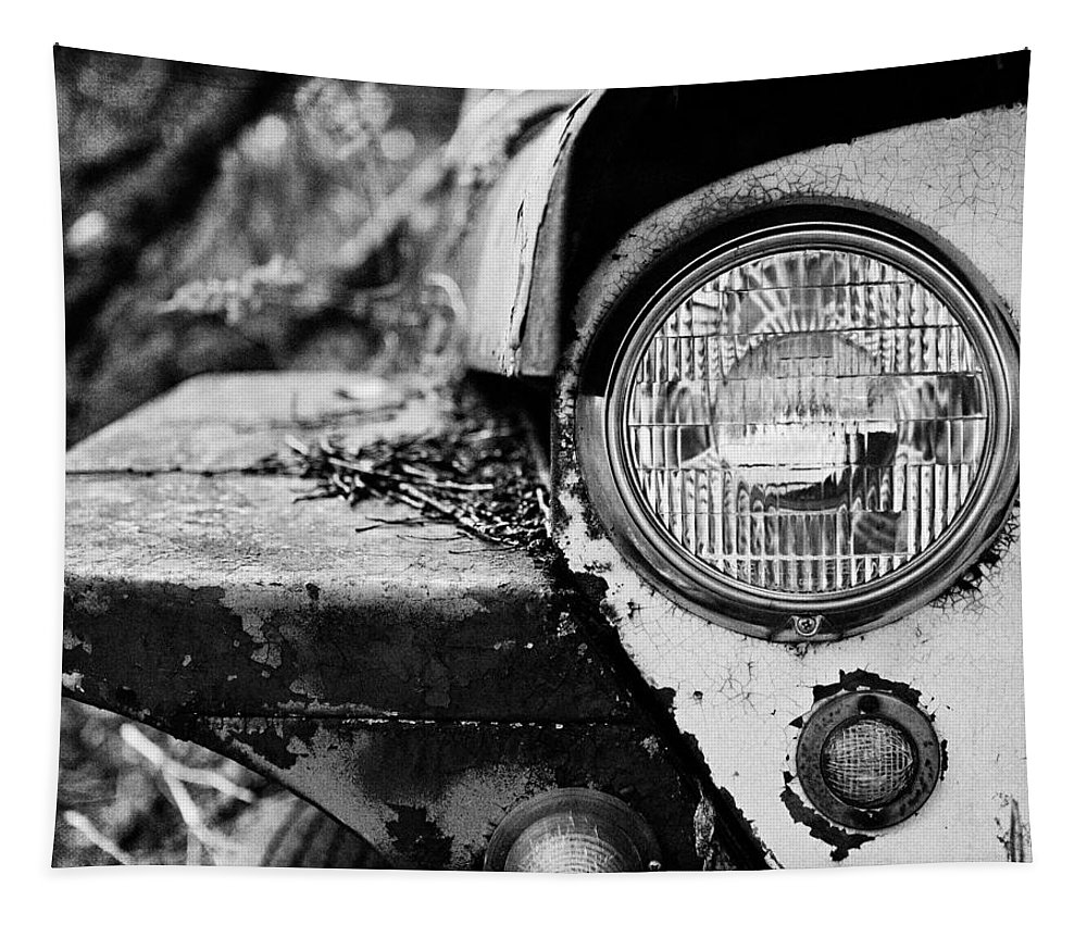 Jeep Tapestry featuring the photograph 1948 Jeep Willys in Black and White by Lisa R