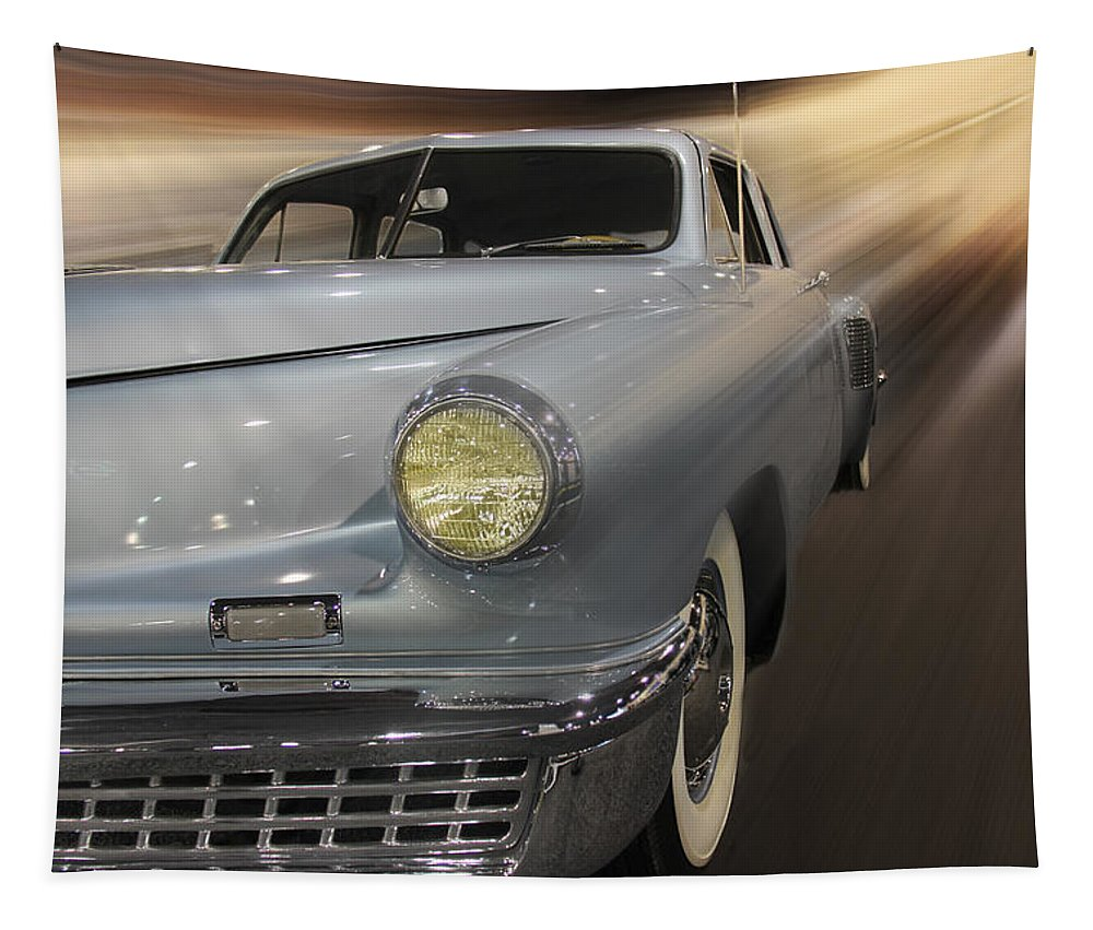 Torpedo Tapestry featuring the photograph 1948 Tucker by Tom Gari Gallery-Three-Photography