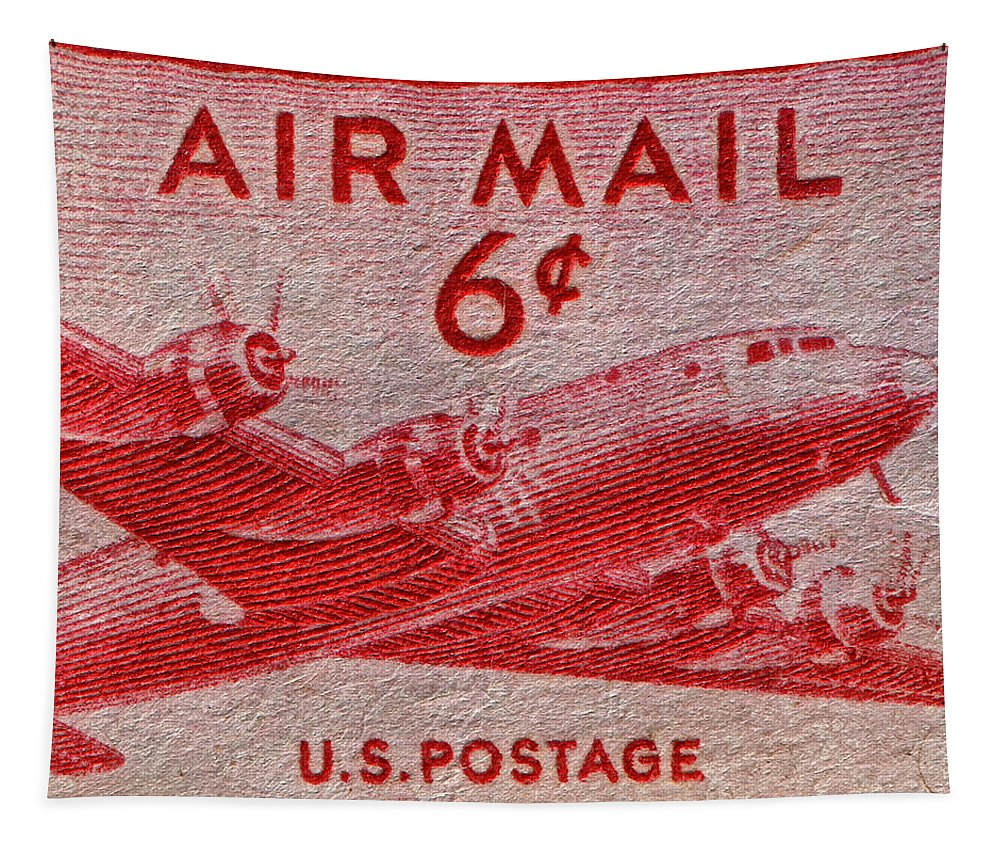 1949 Tapestry featuring the photograph 1949 Dc-4 Skymaster Air Mail Stamp by Bill Owen