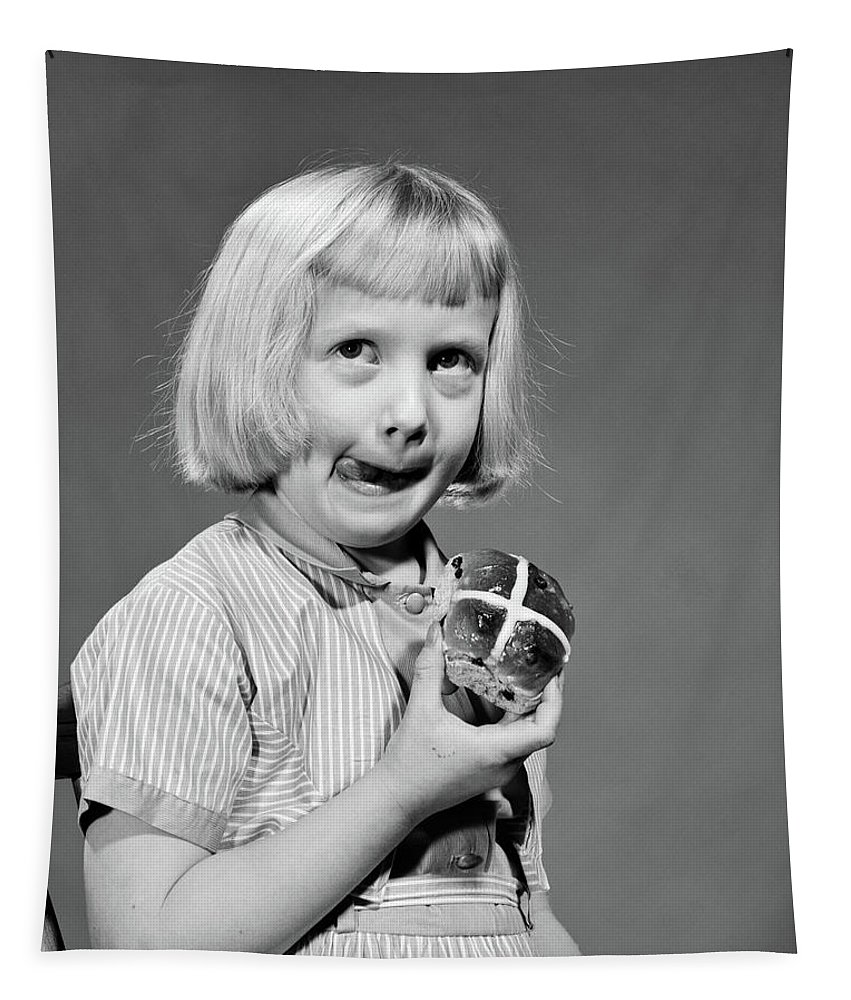 Photography Tapestry featuring the photograph 1950s 1960s Blonde Girl Licking by Vintage Images