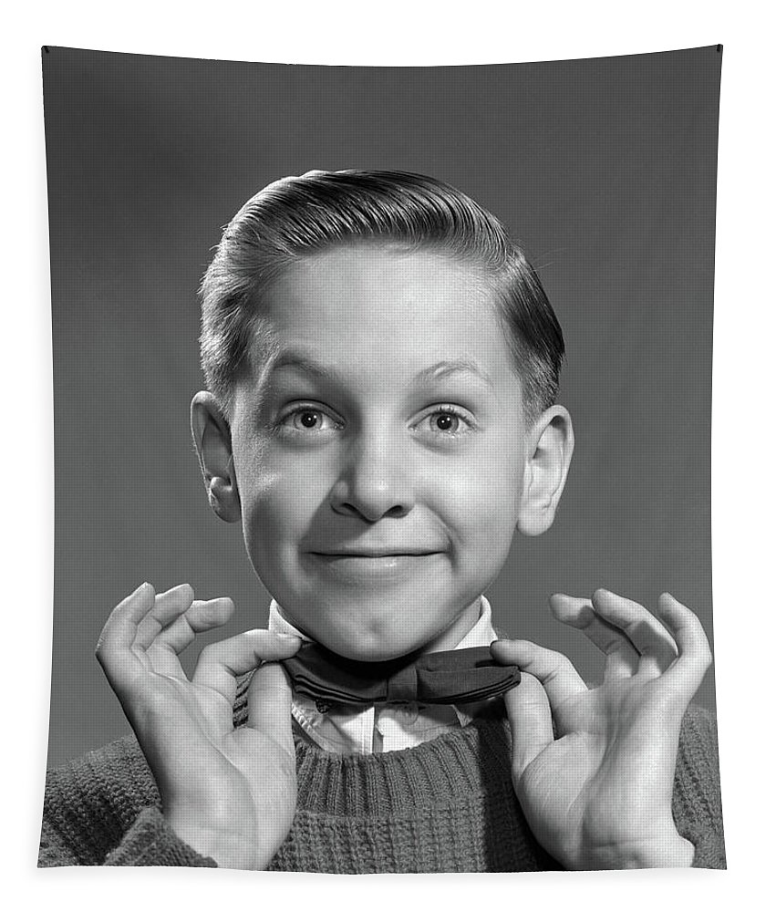 Photography Tapestry featuring the photograph 1950s 1960s Boy Adjusting Bow Tie by Vintage Images