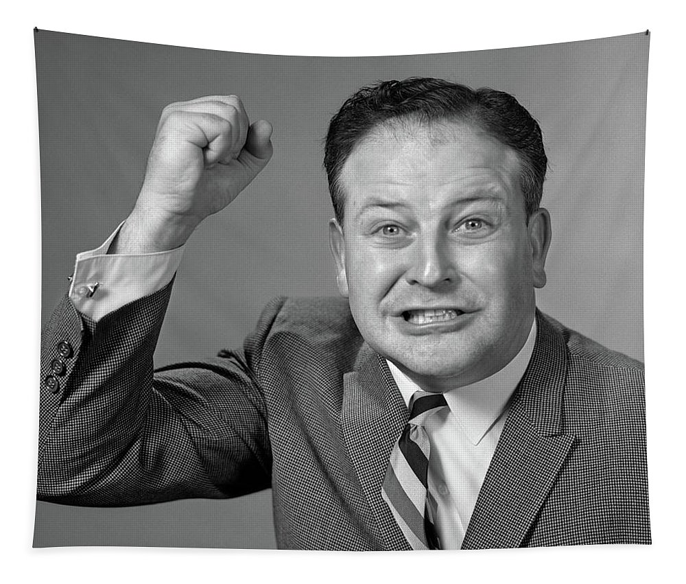Photography Tapestry featuring the photograph 1950s 1960s Portrait Of Angry Man by Vintage Images