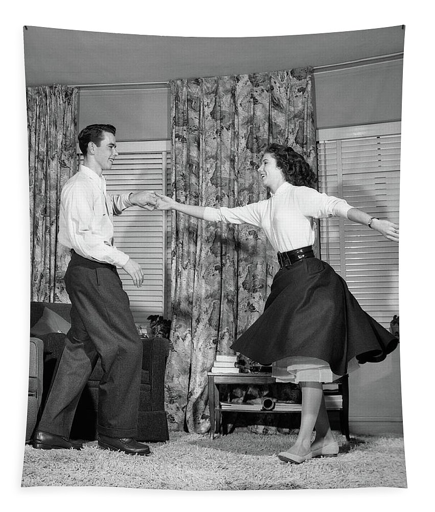 Photography Tapestry featuring the photograph 1950s Teen Boy And Girl Jitterbug by Vintage Images