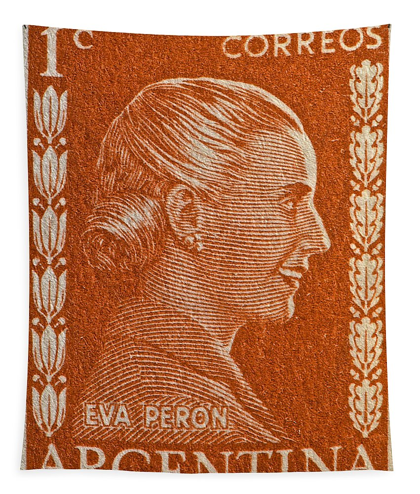 1952 Tapestry featuring the photograph 1952 Eva Peron Argentina Stamp by Bill Owen