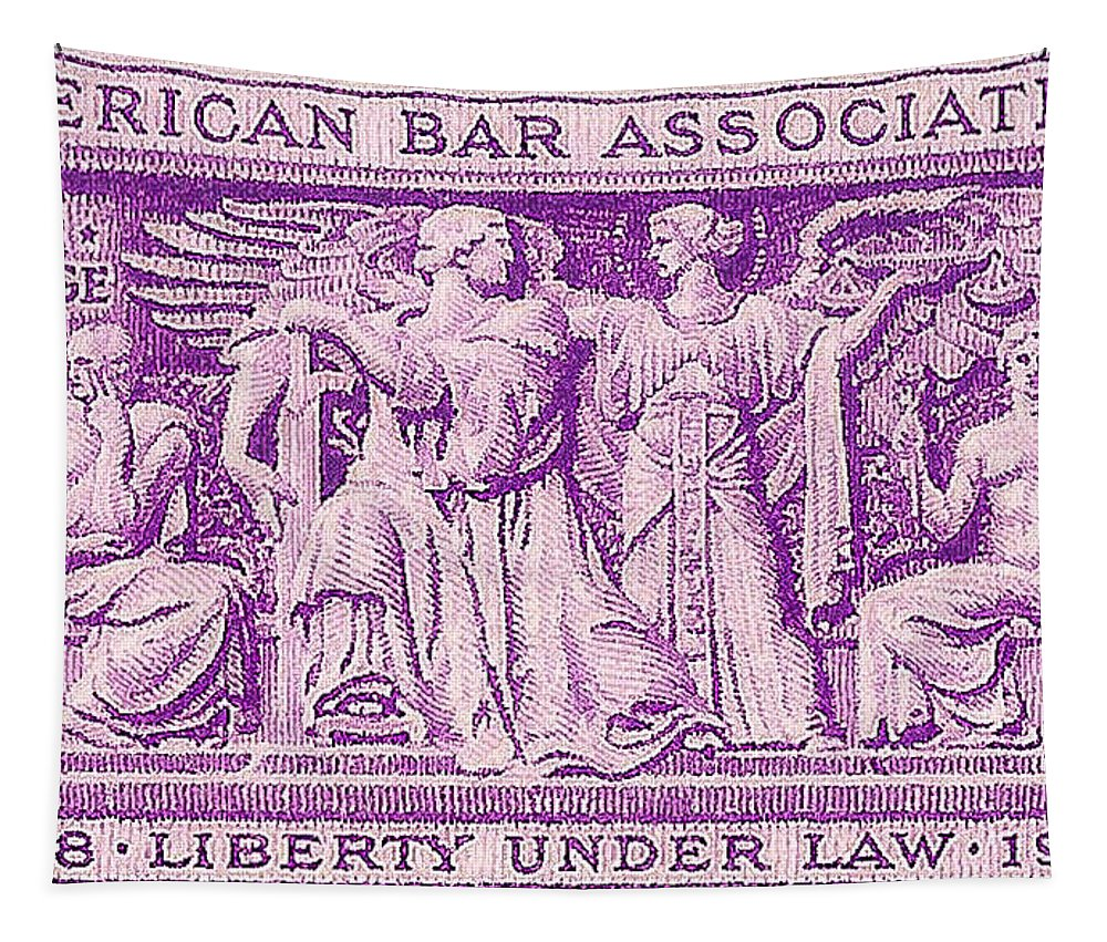 Postage Stamps Tapestry featuring the photograph 1953 American Bar Association Postage Stamp by David Patterson