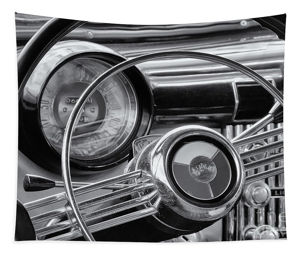1953 Tapestry featuring the photograph 1953 Buick Super Dashboard And Steering Wheel Bw by Jerry Fornarotto