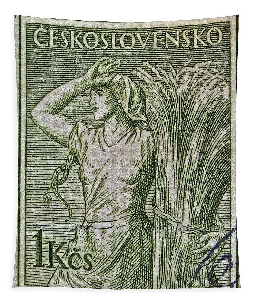1954 Tapestry featuring the photograph 1954 Czechoslovakian Farm Woman Stamp by Bill Owen