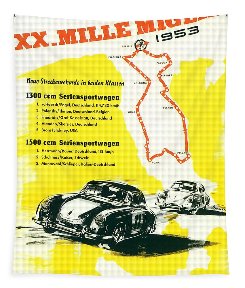 1953 Xx Mille Miglia Tapestry featuring the digital art 1954 XX Mille Miglia Porsche Poster by Georgia Fowler
