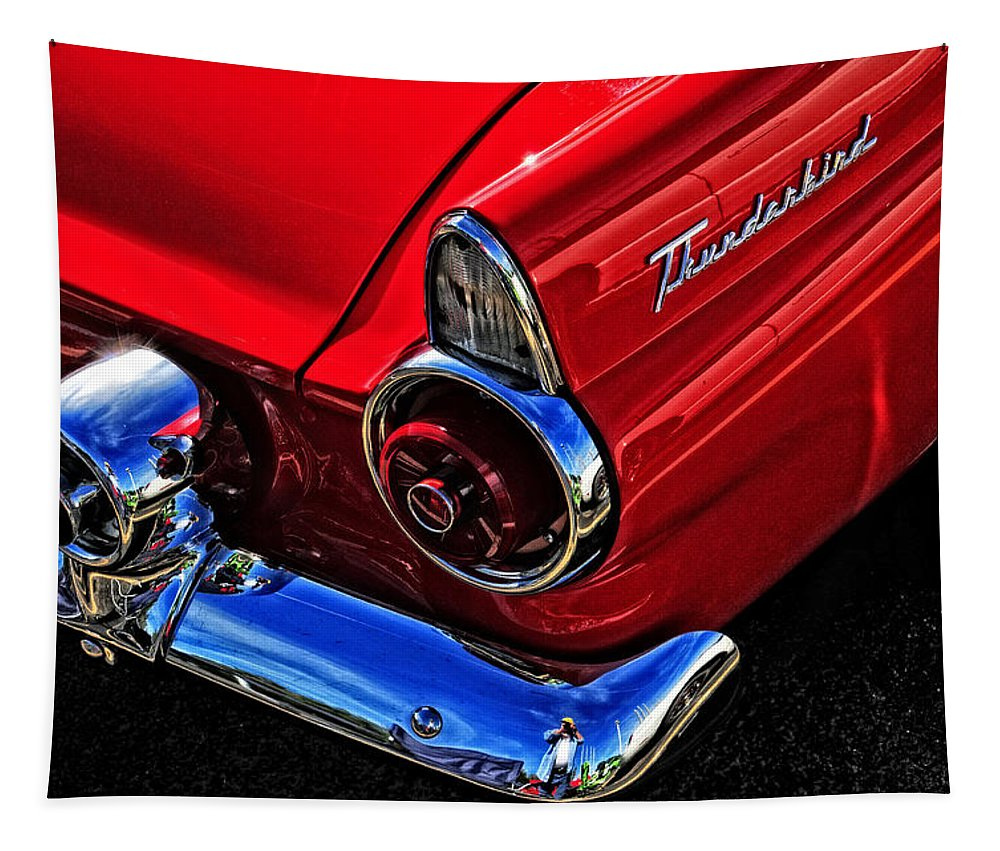 Car Tapestry featuring the photograph 1955 Thunderbird by Mike Martin