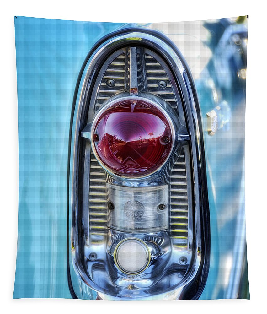 Chevy Tapestry featuring the photograph 1956 Chevy Bel-air Taillight by Saija Lehtonen