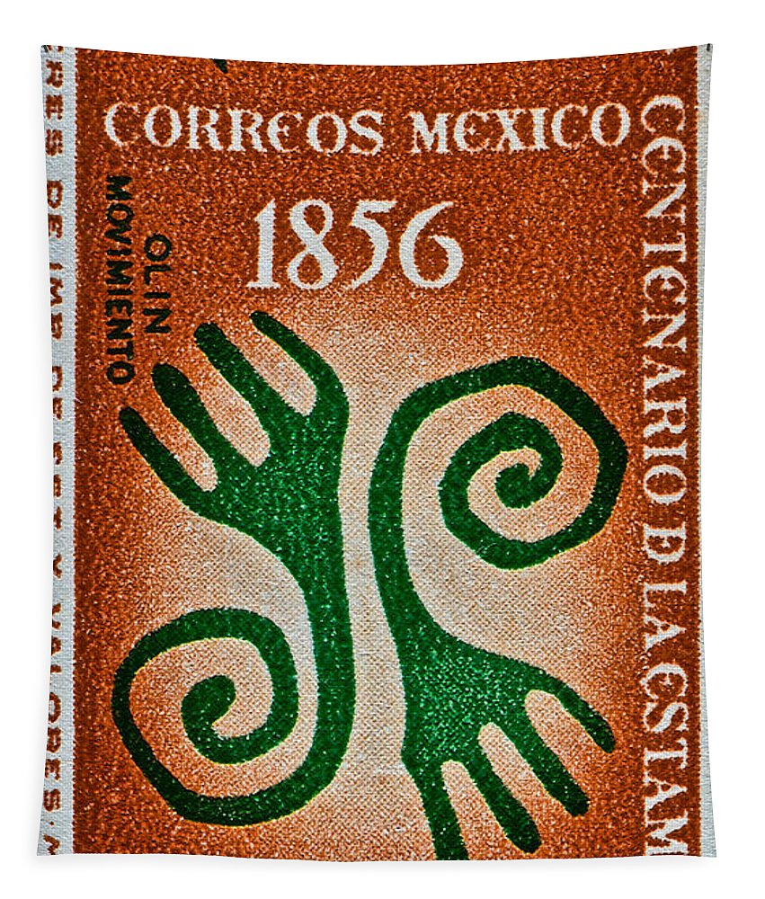 1956 Tapestry featuring the photograph 1956 Mexico Stamp by Bill Owen