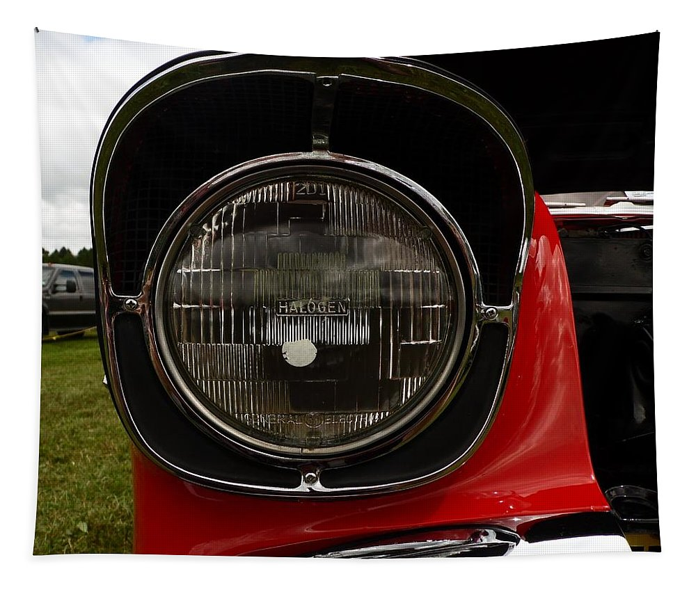 Cars Tapestry featuring the photograph Old Car Headlight by Karl Rose