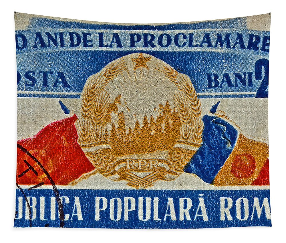1957 Tapestry featuring the photograph 1957 Romanian Coat Of Arms And Flags Stamp by Bill Owen