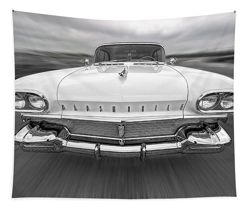 Oldsmobile Tapestry featuring the photograph 1958 Oldsmobile Rocket 88 Head On by Gill Billington