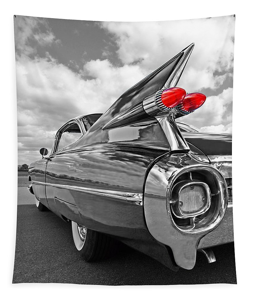 Cadillac Tapestry featuring the photograph 1959 Cadillac Tail Fins by Gill Billington
