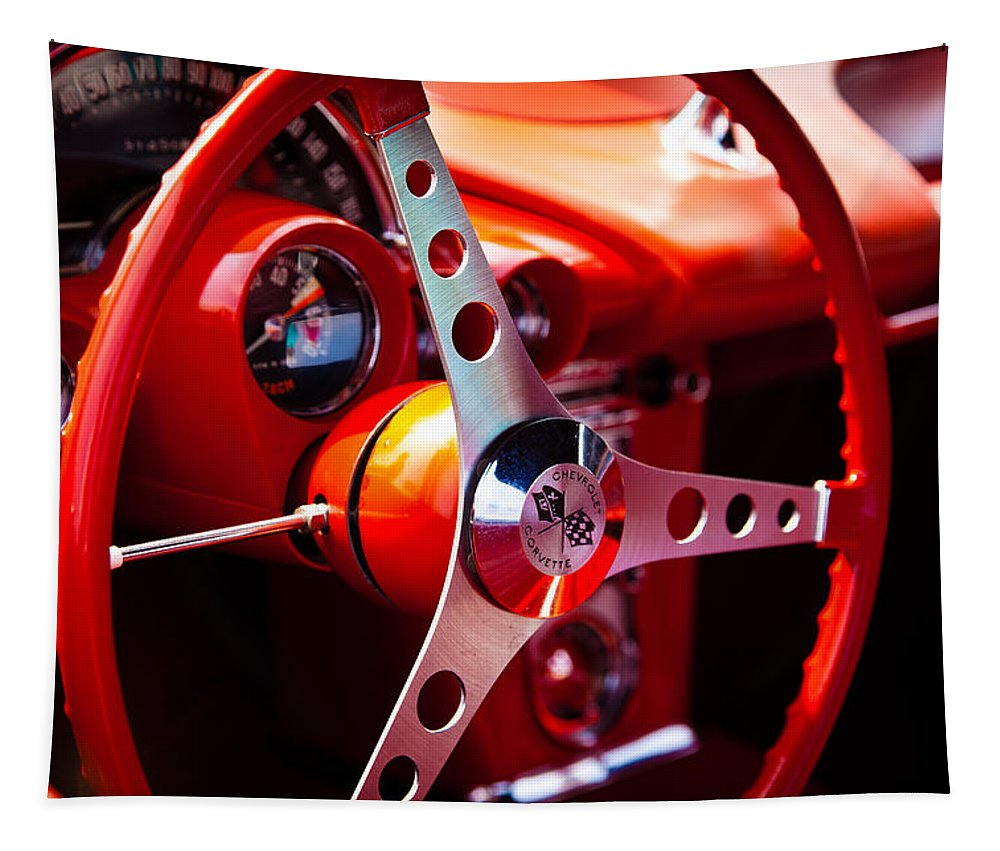 59 Tapestry featuring the photograph 1959 Chevy Corvette Steering Wheel by David Patterson