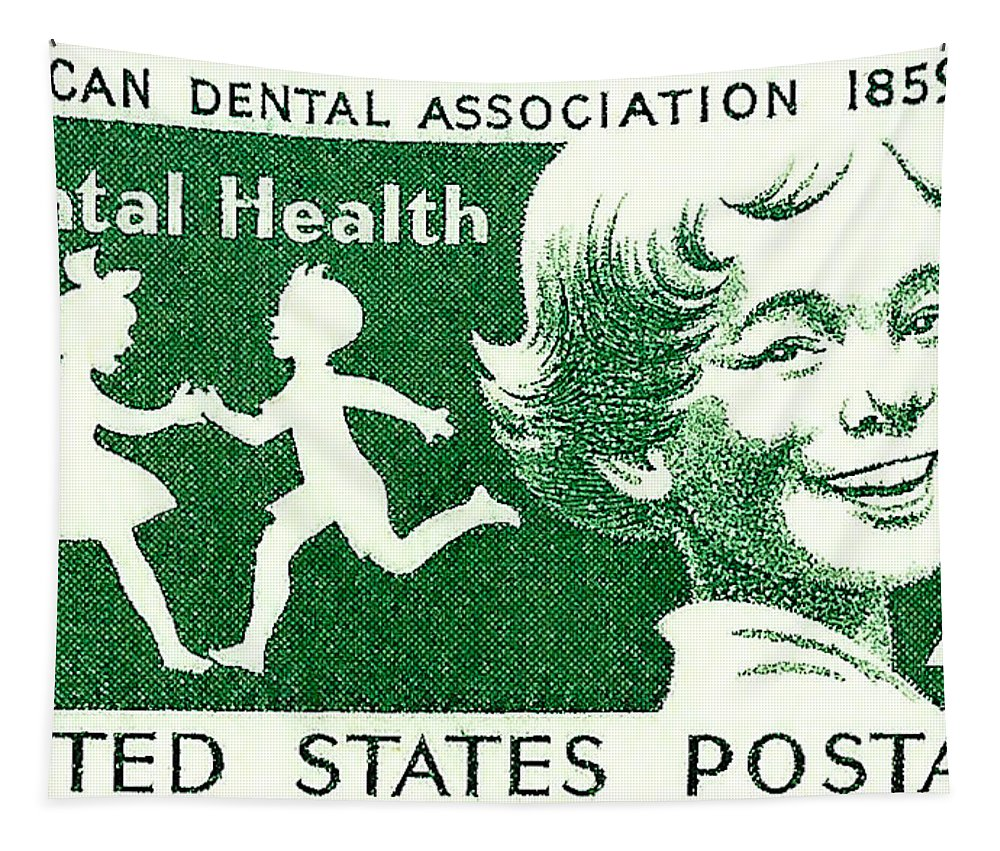 Postage Stamps Tapestry featuring the photograph 1959 Dental Health Postage Stamp by David Patterson