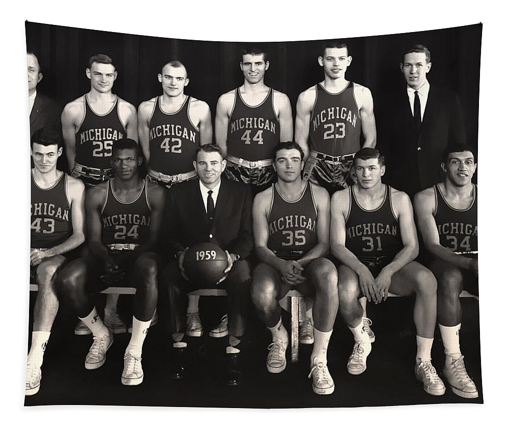 University Of Michigan Tapestry featuring the photograph 1959 University Of Michigan Basketball Team Photo by Mountain Dreams