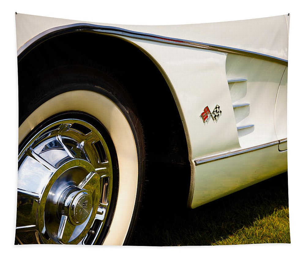 59 Tapestry featuring the photograph 1959 White Chevy Corvette by David Patterson