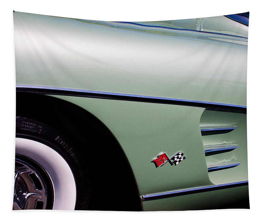 60 Tapestry featuring the photograph 1960 Chevy Corvette by David Patterson