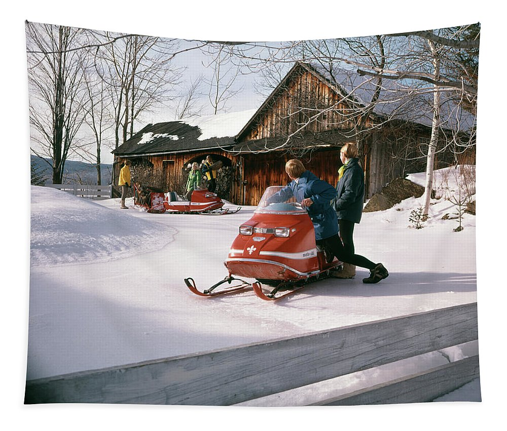 Photography Tapestry featuring the photograph 1960s 1970s People In Snowmobiles Snow by Vintage Images