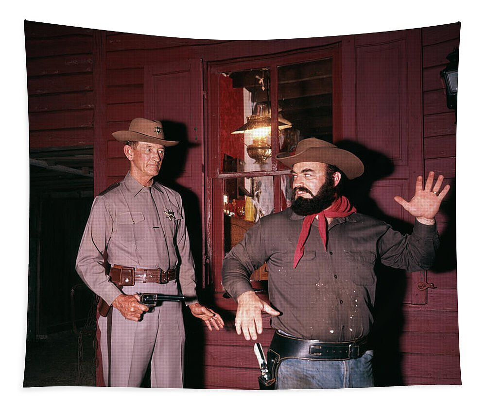 Photography Tapestry featuring the photograph 1960s 1970s Western Sheriff Arrests by Vintage Images