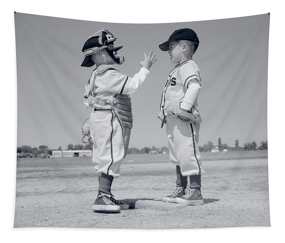 Photography Tapestry featuring the photograph 1960s Boy Little Leaguer Pitcher by Vintage Images