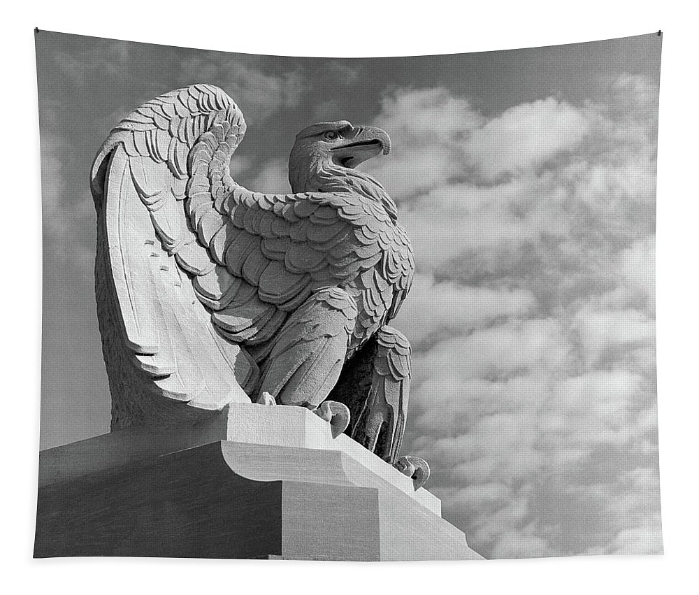 Photography Tapestry featuring the photograph 1960s Eagle Statue Against Sky Clouds by Vintage Images