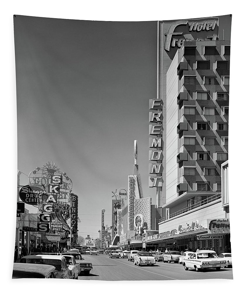 Photography Tapestry featuring the photograph 1960s View Down Freemont Street by Vintage Images