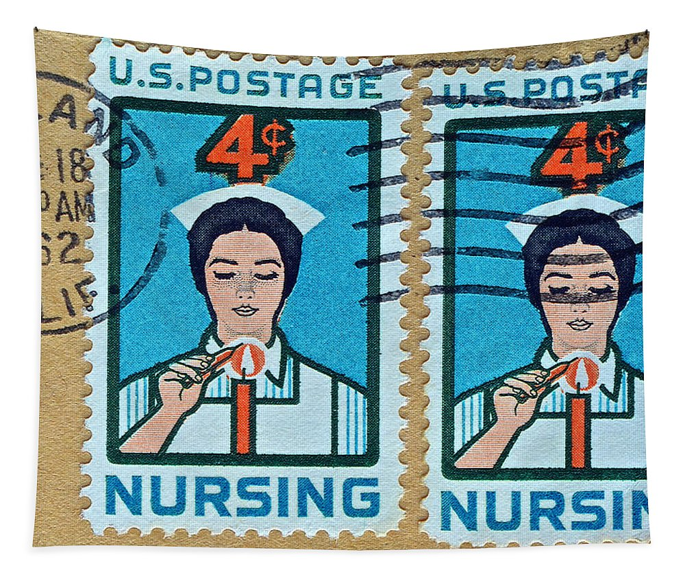 1962 Tapestry featuring the photograph 1962 Nursing Stamp Collage - Oakland Ca Postmark by Bill Owen