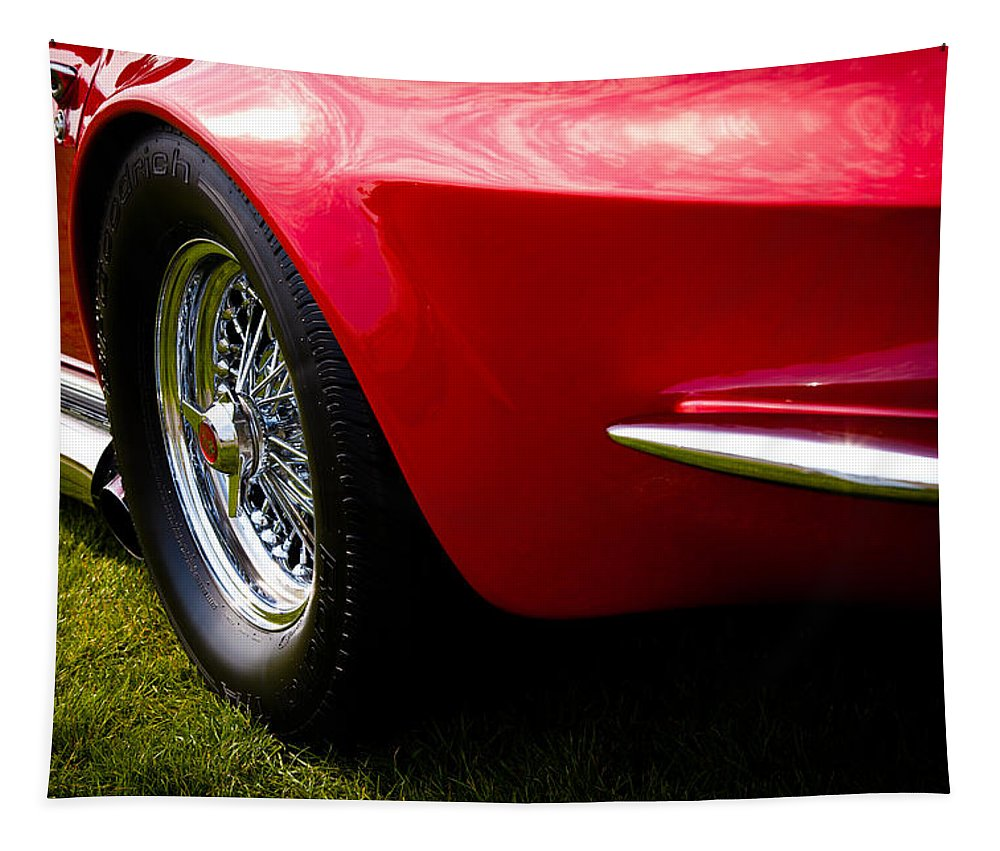 63 Tapestry featuring the photograph 1963 Red Chevy Corvette Stingray by David Patterson