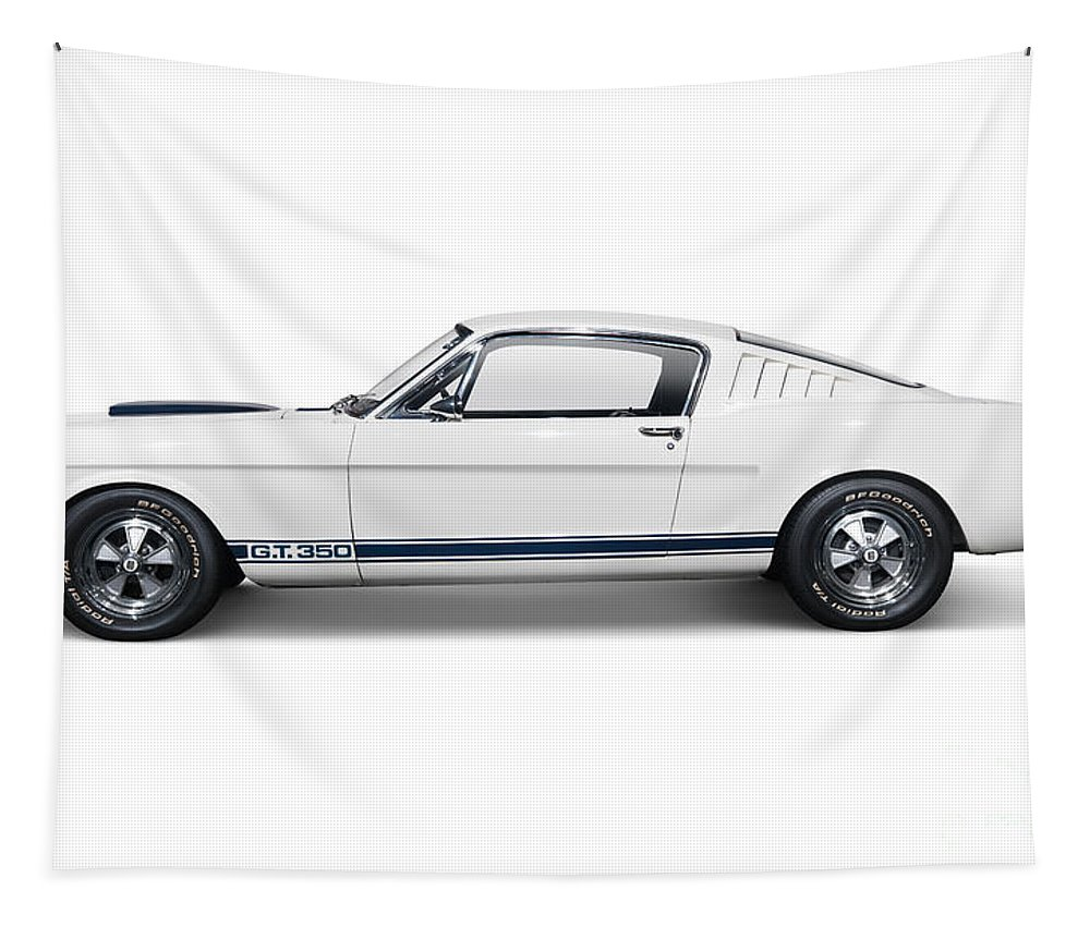 Sports Car Tapestry featuring the photograph 1965 Shelby Gt350 Mustang Retro Sports Car by Oleksiy Maksymenko