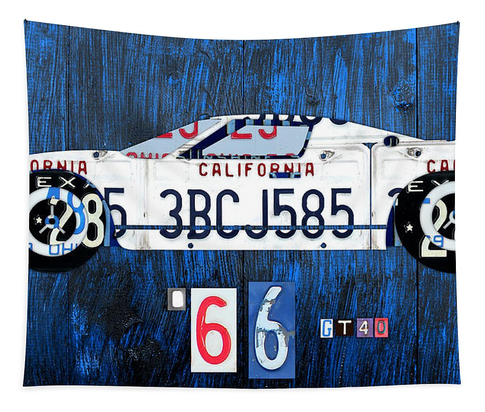 Ford Tapestry featuring the mixed media 1966 Ford Gt40 License Plate Art By Design Turnpike by Design Turnpike