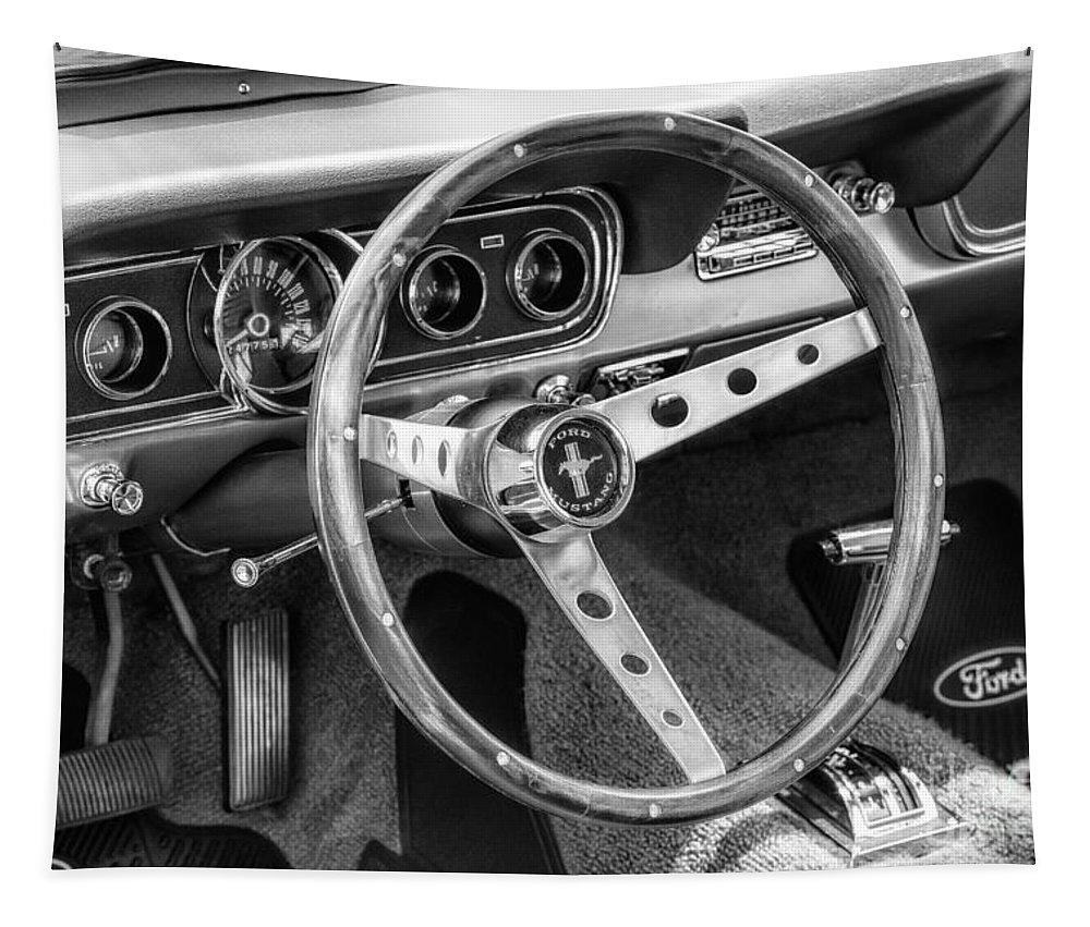 1966 Tapestry featuring the photograph 1966 Mustang Dashboard Bw by Jerry Fornarotto