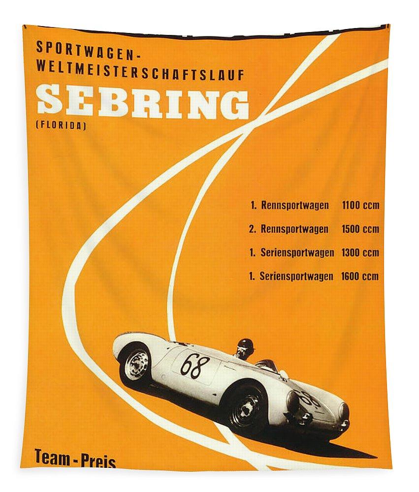 Sebring Tapestry featuring the digital art 1968 Porsche Sebring Florida Poster by Georgia Fowler