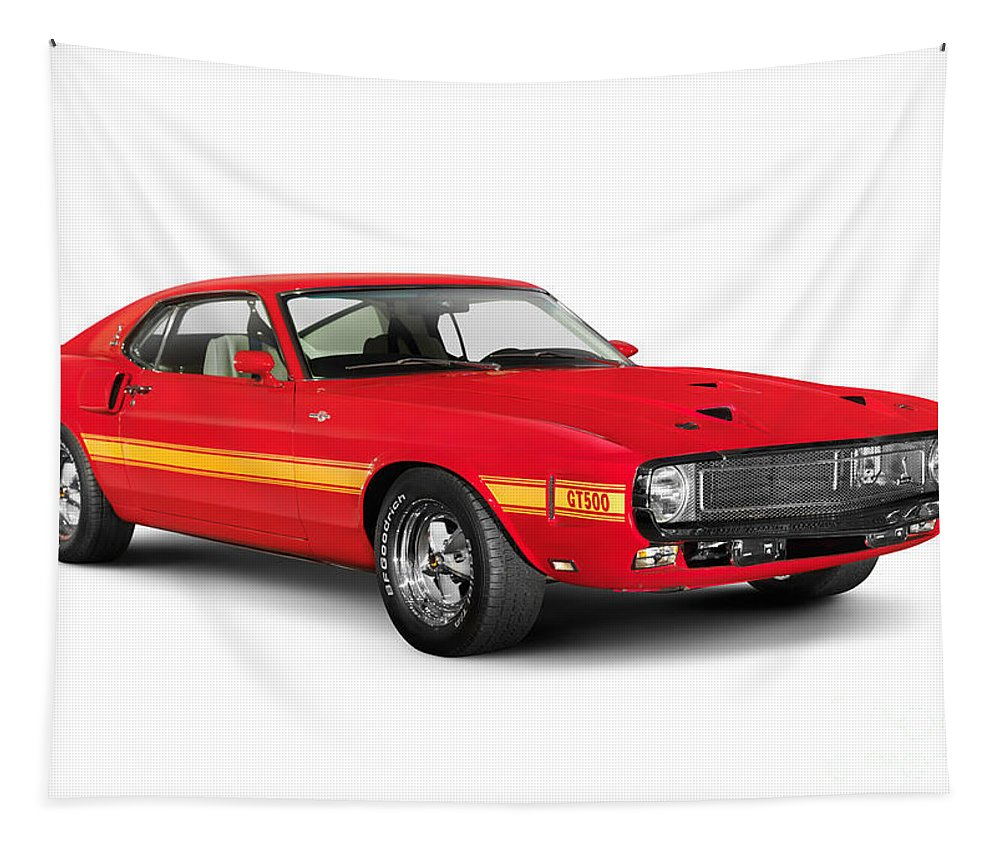 Sports Car Tapestry featuring the photograph 1969 Shelby Cobra Gt 500 Retro Sports Car by Oleksiy Maksymenko