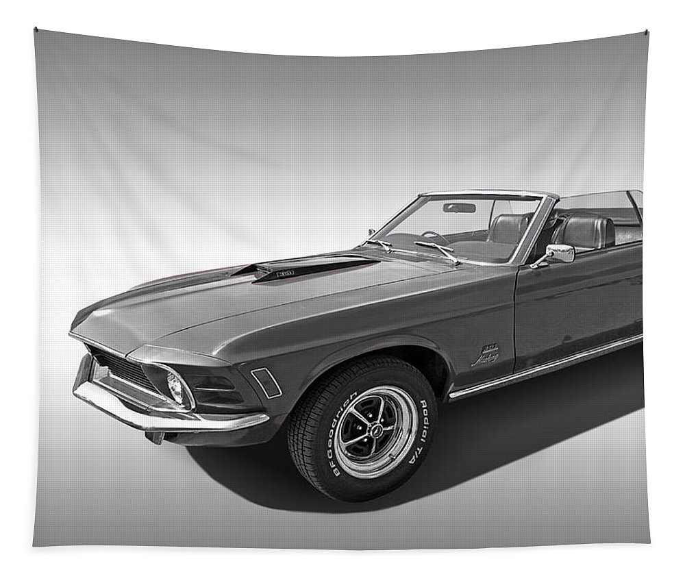 Classic Ford Mustang Tapestry featuring the photograph 1970 Mach 1 Mustang 351 Cleveland In Black And White by Gill Billington