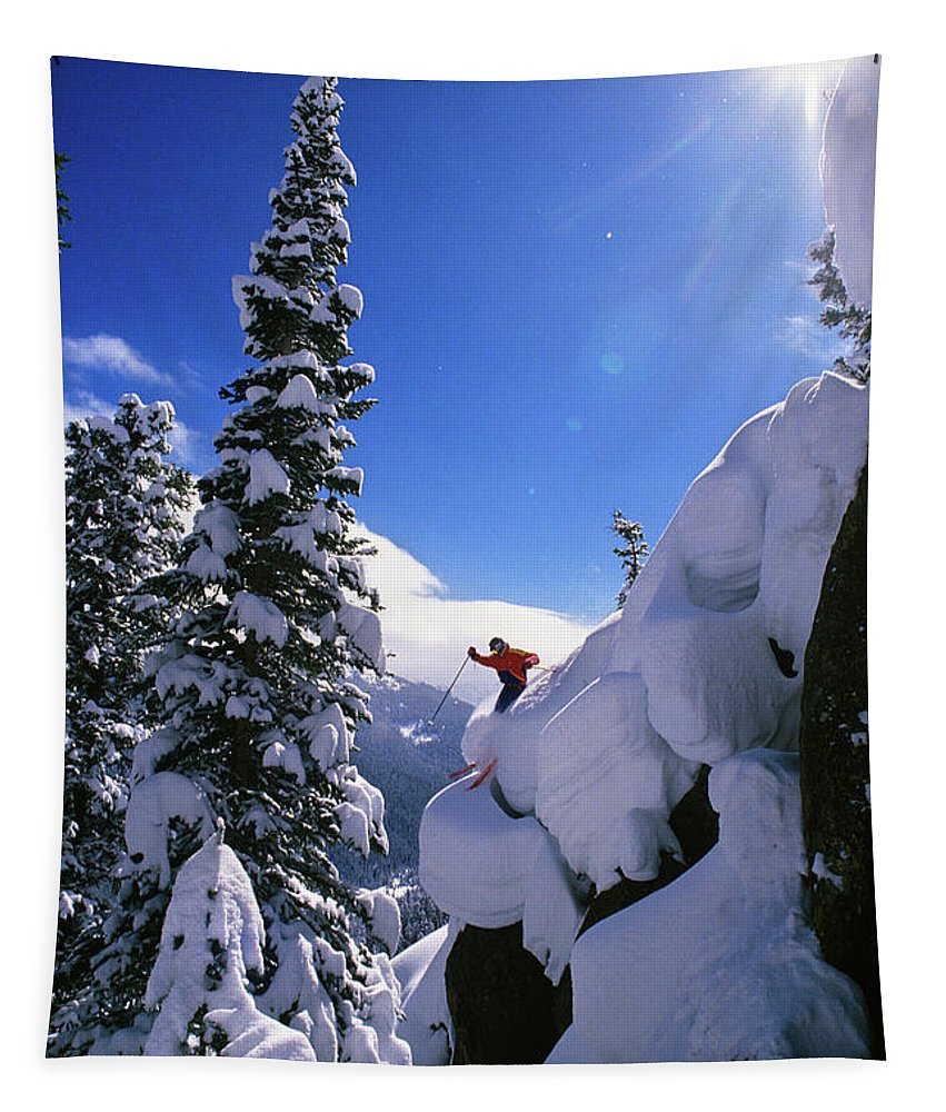 Photography Tapestry featuring the photograph 1990s Skier On The Mary Jane At Winter by Vintage Images
