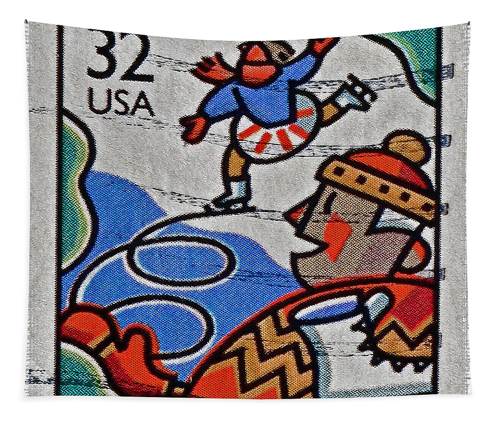 1996 Tapestry featuring the photograph 1996 Winter Skaters Stamp by Bill Owen