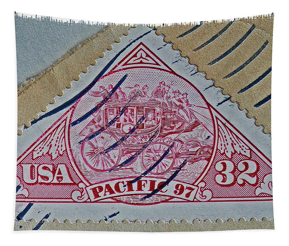 1997 Pacific Tapestry featuring the photograph 1997 Pacific Stagecoach Stamp by Bill Owen