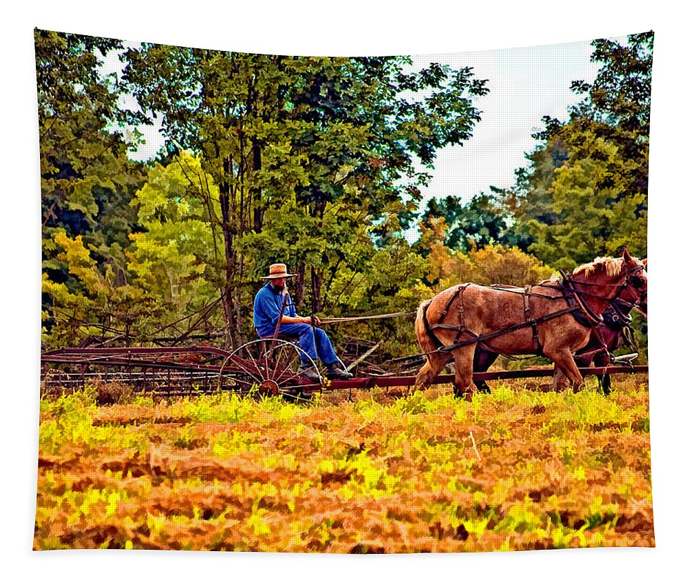 Farm Tapestry featuring the photograph A Simpler Time by Steve Harrington